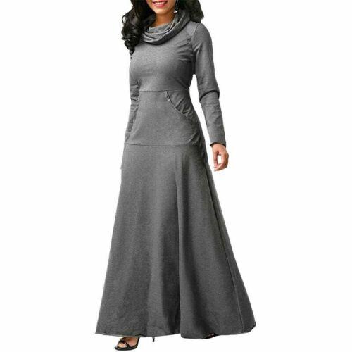 Prom Maxi Long Women Cocktail Dress Muslim Abaya UK Sleeve Islamic Jilbab Kaftan