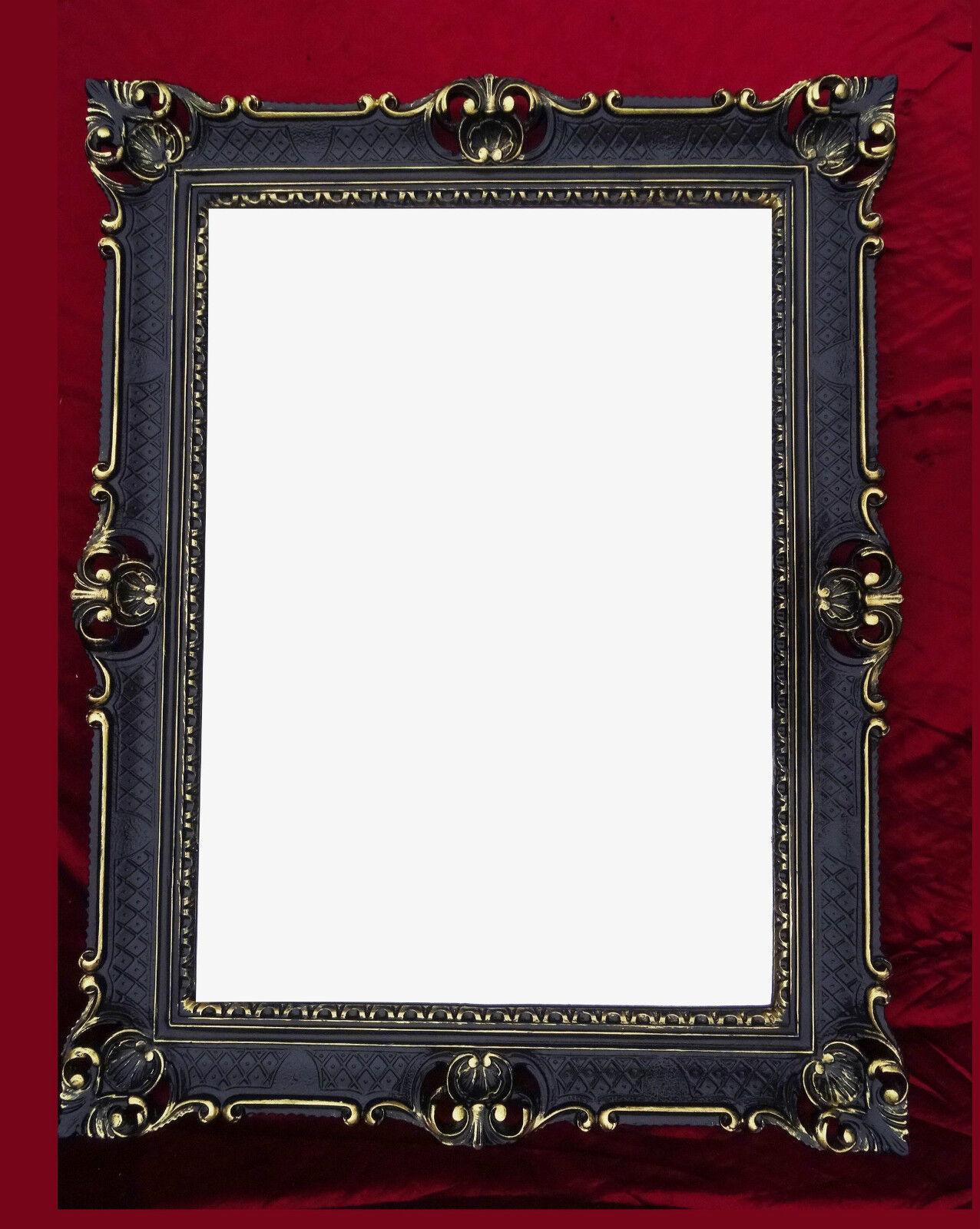 Bilderrahmen Fotorahmen silber schwarz 10x15 Rokoko Barock Stil Rechteckig Antik