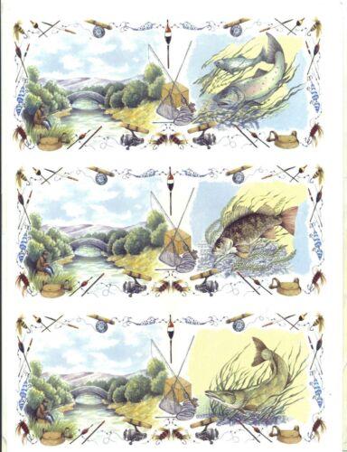 "3 Fishing Fish Pole Lures Creel Wrap Wraparound 7 1//2/"" X 3 1//4/"" Ceramic Decals"