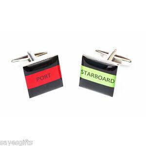 High-Quality-Square-Port-amp-Starboard-STRIPE-square-Cufflinks