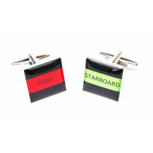 High Quality Square Port /& Starboard STRIPE square Cufflinks