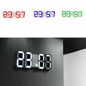 3D LED Digital Wall Desk Clocks USB Snooze Alarm Big Numbers Auto Brightness USA
