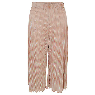 New Ladies Women Pleated Culotte Trousers Pink Size UK 6 8 10 12 14
