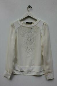 Karen-Millen-Ivory-Embroidered-Silk-Sheer-Blouse-Office-Top-Shirt-UK-10-NEW