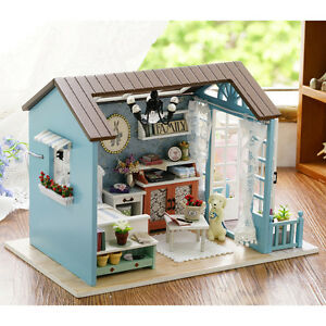 Wood Handicraft Doll House DIY Miniature Kit LED Dollhouse Furniture Toy Gift FN 692204947719