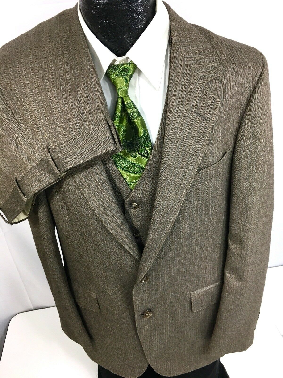 3 pc Vtg Bill Blass Men Brown HERRINGBONE Pin Stripe Wool Suit & VEST 40 L 34 33