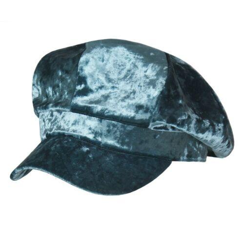 Les Femmes Gris Velours Newsboy Hat Flat Cap Baker Garçon Chauffeur Gatsby Rétro Vintage Neuf