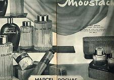 PUBLICITE ADVERTISING 015  1960  MARCEL ROCHAS  eau de Cologne MOUSTACHE ( 2p)