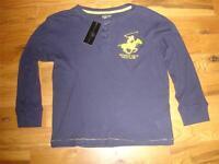 $32 Beverly Hills Polo Club N0 2 Navy Blue Thermal Henley Shirt Boys M 12/14