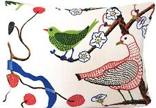 """Josef Frank Green Birds Cushion Cover Blue Red White Printed Linen Fabric 16x12"""""""
