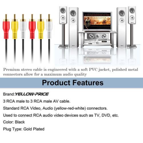 Yellow,White 6ft 12ft 25ft 50ft Premium 3RCA to 3RCA AV Cable-Red 1-5Packs