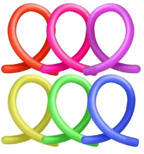6x elastico Noodle Stringa Neon per bambini Fidget giocattolo sensoriale stress sollievo
