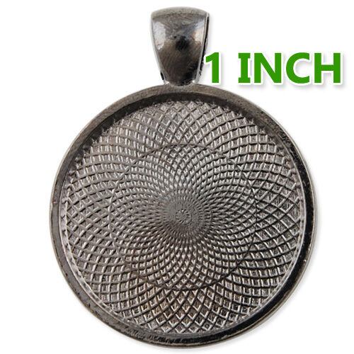 """25mm 1 inch 1/"""" Round Pendant Tray Blank Photo Frame Cameo Cabochon Base 20 M165"""