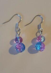 PINK & Blue in Vetro Crackle Orecchini pendenti in argento placcato Ganci-HAND MADE