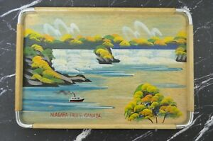 Vintage-Wood-Tray-with-Niagara-Falls-Canada-Standard-Specialty-Co-Japan