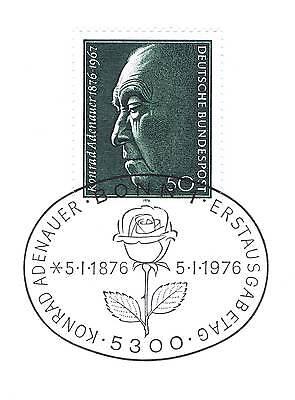 Liberal Brd 1976: Konrad Adenauer! Nr. 876 Mit Sauberem Bonner Ersttagsstempel! 1a! 153 Jade Weiß