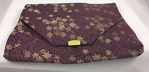 Vintage-Burgundy-amp-Gold-Fabric-Clutch-Handbag-Envelope-Style-bag