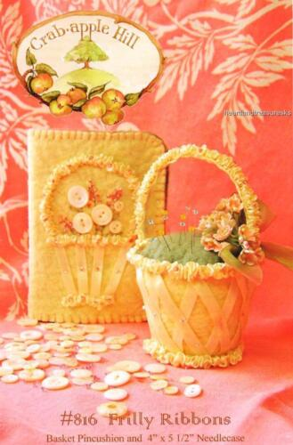 Frilly Ribbons Basket Pincushion Crab Apple Hill Sewing Embroidery Pattern 816