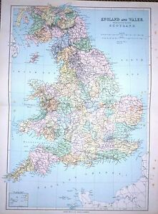 1901 Large Victorian Countes Map Of England Wales Southern