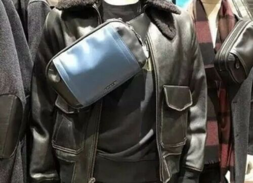 Coach F37594 Graham Mineral Blue//Black Leather Utility Pack Sling//Fanny Bag