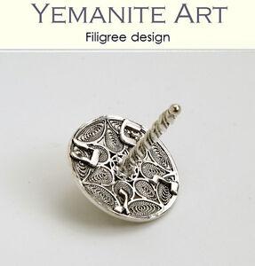 925 Sterling Silver Small Hanukkah Dreidel Filigree Artisan, Yemenite Art