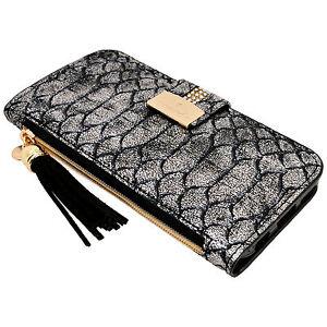 Image is loading Womens-SnakeSkin-SILVER-PU-Leather-Flip-Wallet-Case- 54ec3b78d7