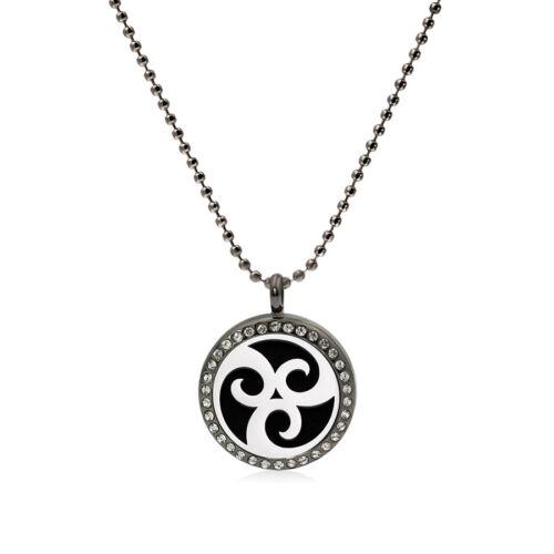 Lady/'s Necklace Huile Essentielle Aromathérapie Diffuseur médaillon cristal noir pendentif