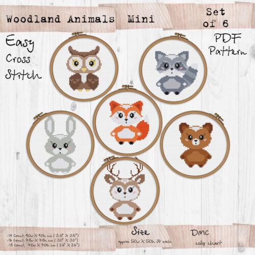 Mini Woodland animals set of 6 nursery decor Cross stitch PDF Pattern #189