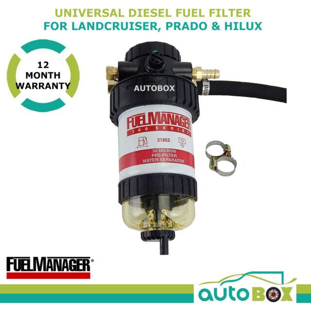 Diesel Fuel Filter Water Separator Universal Pre-Filter 30 Micron Kit CRD