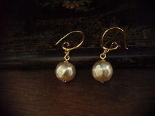 Vintage Round Baroque Pearl Drop  Hook Pierced Earrings.