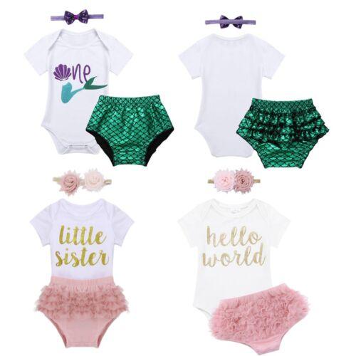 Newborn Infant Baby Girl Birthday Romper Bloomers Bodysuit Outfit Cake Smash Set