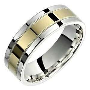 image is loading 10k yellow gold ring 925 sterling silver wide - Wedding Ring For Him