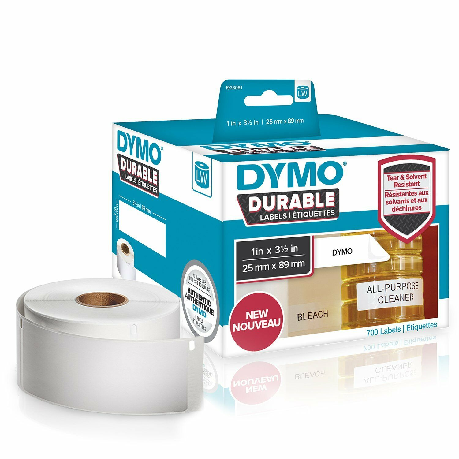 Dymo 1933081 Lw Durable 1in X 3-1 2in White Poly 700 Labels