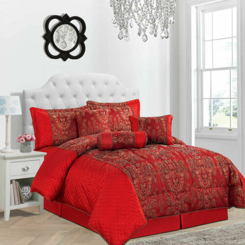 PENCIL PLEAT CURTAINS JACQUARD QUILTED 7 Pc COMFORTER BEDSPREAD THROW  SET