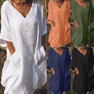 Latest-Women-Casual-Linen-Pure-Color-V-Neck-Button-Short-Sleeve-Shirt-Blouse-Top