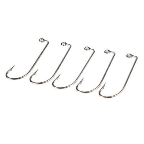 Lot 100pcs JIG Fish Hook Jig Big Carbon Steel Fishing Hooks Size 1/0-5/0 Silver