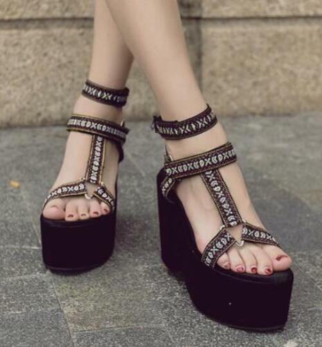 da D70 Strap Ankle Wedge da Platform Scarpe Womens High discoteca discoteca Sandali Romani 68UqZn