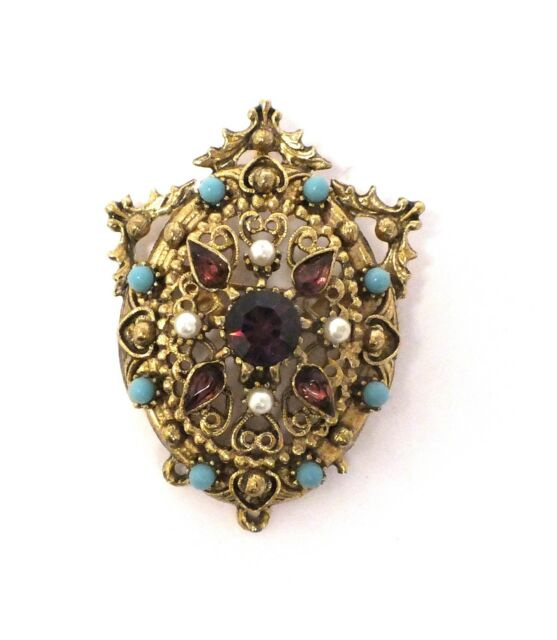 Statement PIN BROOCH Gold Tone with Colourful Stones 5cm x 4.5cm - S16