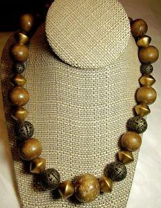 VTG-Wooden-Necklace-SALE-Filigree-Bead-Metal-Chunky-Boho-Hippie-Asian-24-034