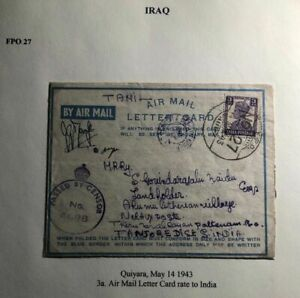 1943-Quiyara-Iraq-Indian-Base-Censored-Air-Letter-Cover-To-Tanjore-India
