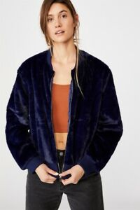NRL Womens Fur Bomber Jacket Jackets  In  Roosters