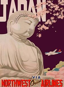 Japan Via Northwest Orient Vintage Asia Airlines Travel Advertisement Poster