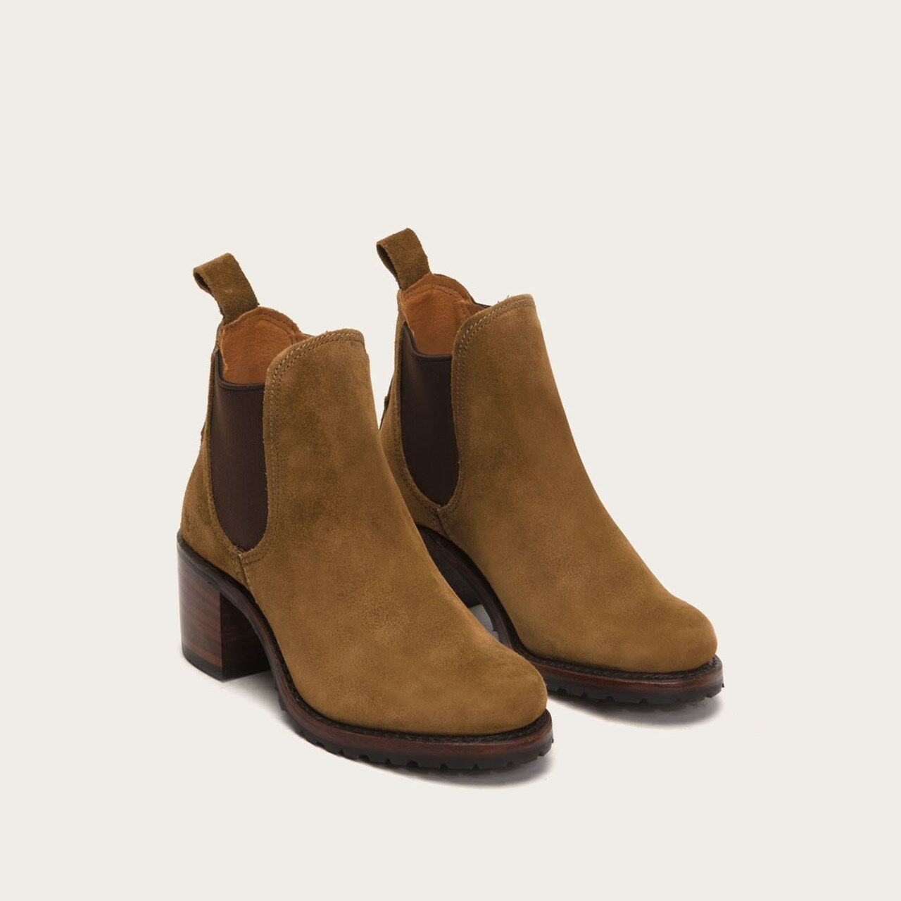 Frye Sabrina Chelsea Boot Chestnut Brown Suede Leather 77037