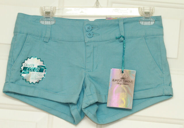Almost Famous Womens Blue Shortie Shorts Size 5
