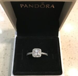 918961f2a Image is loading Pandora-Timeless-Elegance-Silver-Ring-190947CZ-HINGED-BOX-