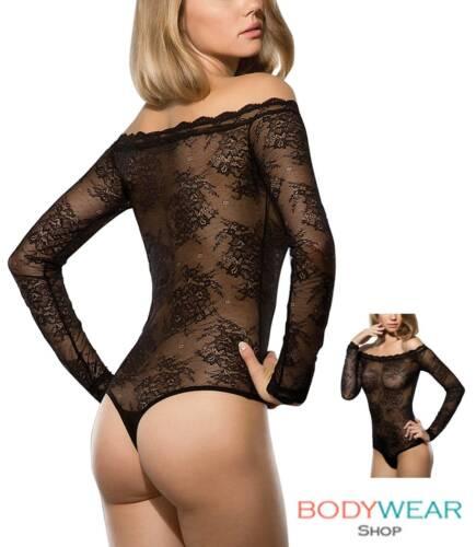 Damen Spitzenbody Carmen-Ausschnitt Stringbody Tüllbody Lace Bodysuit S-XL