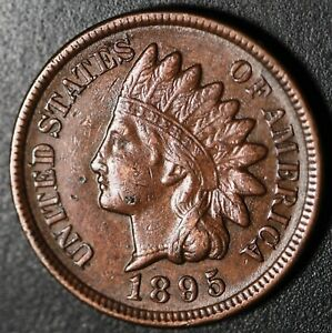 1895-INDIAN-HEAD-CENT-With-LIBERTY-amp-DIAMONDS-Near-AU-UNC