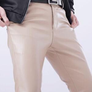 Hommes Faux Cuir Pantalon Extensible PU Leggings Mouillé Look Brillant Slim Fit