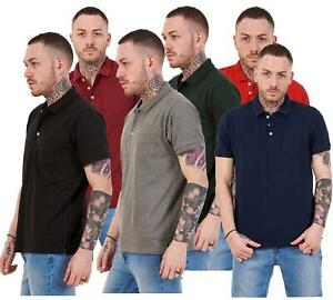Mens-Cotton-T-Shirts-Regular-fit-Plain-Polo-Pocket-Casual-Formal-Shirt-Top-M-XXL