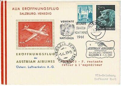 Venedig Angenehm Im Nachgeschmack Briefmarken Österreich 2019 Neuer Stil Österreich Sonderbeleg Aua Eröffnungsflug Salzburg